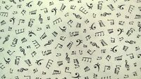 "Fabric Fat Quarter Black on White Musical Notes Print Fabric 100% cotton 20""x22"""