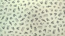1 Half Metre Black on White Musical Notes Print Fabric