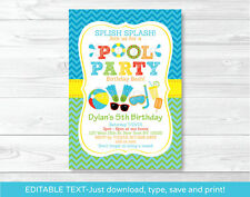 Boys Pool Party Printable Birthday Invitation Editable PDF