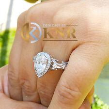 14k White Gold Pear Forever One Moissanite Diamonds Engagement Ring 2.05ctw