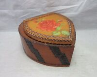 Vintage 1940's hand crafted wood heart box with red rose
