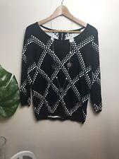 Portmans L Knit Top Black & White Viscose Cotton BNWOT