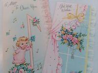 2 UNUSED Vtg CHERUB GIRL & SILVERED BIRDCAGE at Window Get Well GREETING CARDS