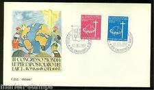 VATICAN CITY SC#453/54  WORLD  CONGRESS OF CATHOLIC LAYMAN ROMA  FDC