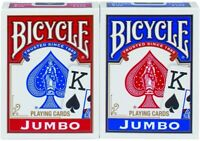 Bicycle Jumbo Face Playing Cards - Bicycle Poker Cards - 1 Red and 1 Blue - NEW