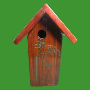 """Wooden Homemade Birdhouse 13"""" High X 8"""" Wide, Moveable Bottom, Thick and Sturdy"""