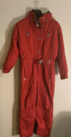 Women's Marker Red One Piece Winter Sports Ski Zip Up Coverall Snow Suit Size 12