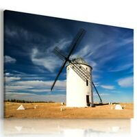 WINDMILL MILL ENERGY SUNRISE MODERN DESIGN CANVAS WALL ART PICTURE WA84 UNFRAMED