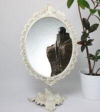 Standspiegel Weiss Metall Kippspiegel Schminkspiegel Kosmetikspiegel Antik 50 cm