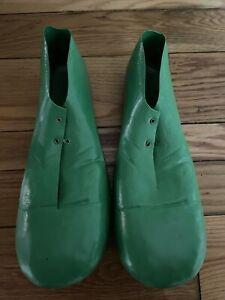 "Vintage 15"" Rubies Jumbo Clown Shoes Green 1978 Adult Plastic Costume #741 USA"