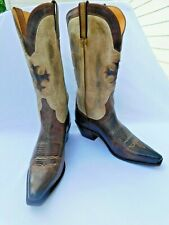 Charles 1 Horse Brown Tan Mens Leather Cowboy Boots Western Size10B / EUR 41