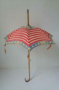 Antique Doll Parasol Red, White Blue American Flag Umbrella Bamboo Shaft Handle