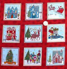 Christmas 2015 Wonderland Squares fabric 30 x 112 cm 33 squares Makower MK1460