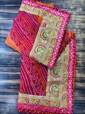 Bandhej Bandhani Saree Georgette Gotta Patti Border Pink Designer Bollywood Sari