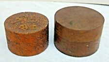 New ListingVintage 2 Small Round Wood Boxes 1 Wood Burned Butterfly Trinket Ring Jewelry