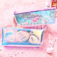 Transparent Holographic Laser Heart Pattern Pencil Bag Stationery Case Gift Hot