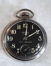 Vtg Westclox Scotty Pocket watch Luminous Black Works