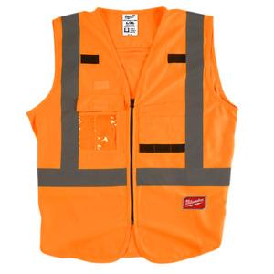 Milwaukee ANSI/CSA Class 2 Orange Hi-Viz X-Back Safety Vest, 10 Pocket/ID Holder