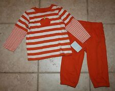 NWT Gymboree Boys 18 - 24 Months Pumpkin Striped Halloween Top Orange Pants