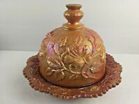 Westmoreland Open Rose Butter Dish Plate with Dome Lid Orange Lustre