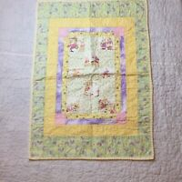 "Peter Rabbit Doll Quilt 20.5"" x 29"" Yellow Green Purple"
