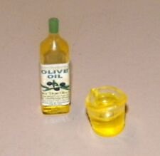 Dollhouse Miniatures, Oiive Oil in a Bottle & a Measuring Cup of Oil