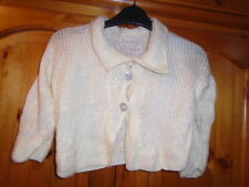 Girls cream fairly loose knit long sleeve cardigan with collar, 2-3 years