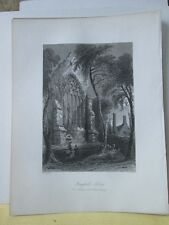 Vintage Print,YOUGHALL ABBEY,Scenery of Ireland,Bartlett