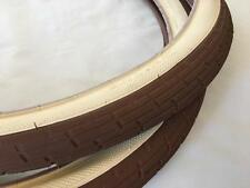 Two 2 CREAM - BROWN Tan 26x2.35 Bicycle Fat Tires Slick Chopper Vintage Bike