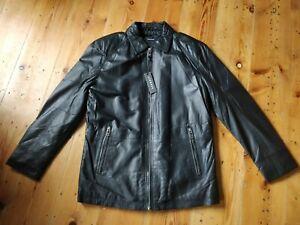 Men's Ashwood Real Leather Black Parka Jacket Size M
