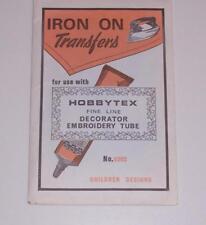 Vintage - HOBBYTEX IRON ON TRANSFERS No 0302 Children Designs