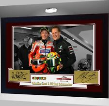 Valentino Rossi & Michael Schumacher Firmado Poster De Impresión pre-Autógrafo Enmarcado