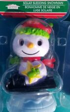 1- Solar Power Dancing Toys Holiday Snowman Sledding Bobblehead Christmas