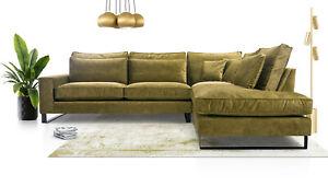 High Quality Elegant Corner Sofa CORBLACKY Many Colours Cushions Velvet Fabric