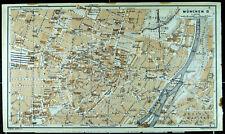 MÜNCHEN City, alter farbiger Stadtplan, datiert 1913
