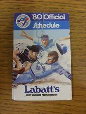 1980 scheda di impianti: Baseball-Toronto Blue Jays (Pieghevole Stile). eventuali difetti WIT