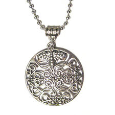 Honey Bee Filigree Design Medallion of the World Pendant Silver Plated Necklace