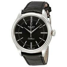 Rolex Cellini Time Black Dial Automatic Mens 18 Carat White Gold Watch 50509BKSL