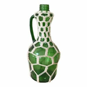 1970's Green Glass Bottle With Handle Cream Color Macrame Cover Design MCM