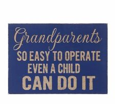WOODEN BLOCK SIGN GRANDPARENTS SO EASY TO OPERATE EVEN A CHILD CAN DO IT GIFT