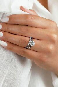 Women Engagement Ring Diamond Wedding Bridal Set in 14k White Gold Finish Size H