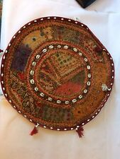 """16"""" ROUND CUSHION COVER HAND EMBROIDERY VINTAGE COTTON  pillow cover"""