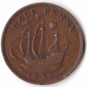 1/2 Penny 1938 Great Britain Coin KM#844 George VI