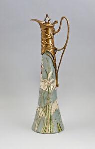 9937865-dss Messing Keramik Karaffe Kanne Jugendstil Lilien H40cm