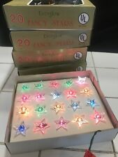 5 Pk Nos Vintage Everglow Fancy Star Light Set Strand Christmas Tree