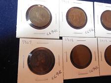 8 Canadian Edward VII Large Cents (1902, 1904-1910) (bl2) (cs)