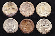 EGYPT LOT 6x1 Pound Silver Coins, ONE SIDE TONED!!!