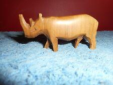 Besmo Hand Carved Rhinoceros Made In Kenya Miniature Exotic Wood Figurine