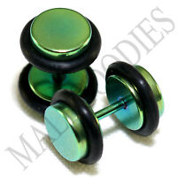 2105 Fake Cheater Illusion Faux Ear Plugs 16G Surgical Steel 0G 8mm Green Medium