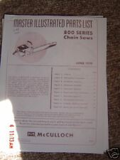 McCulloch 800 Series Parts list